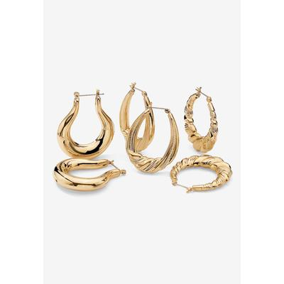 Goldtone Smooth and Textured 3 Piece Set Hoop Earrings (33mm), Size One Size by PalmBeach Jewelry
