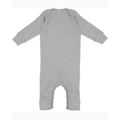 Rabbit Skins 4412 Infant Baby Rib Coverall in Heather size 6MOS | Cotton/Polyester Blend