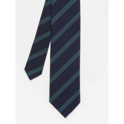 J.McLaughlin Men's Italian Silk Tie in Diagonal Regiment Stripe Navy Blue