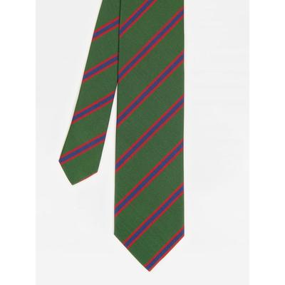 J.McLaughlin Men's Italian Silk Tie in Diagonal Regiment Stripe Green