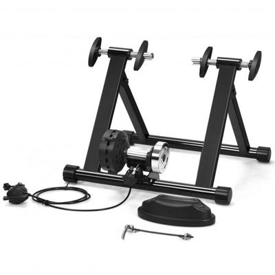 This indoor steel bicycle stand is made of solid steel and adopts pyramid structure design to ensure its stability. And the adjustable 8 resistance levels for you to choose different training difficulty.