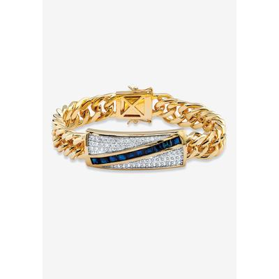 """Men's Big & Tall PalmBeach Jewelry Yellow -Plated Link 8"""" Bracelet with Sapphire and Cubic Zirconia Accents in Gold"""