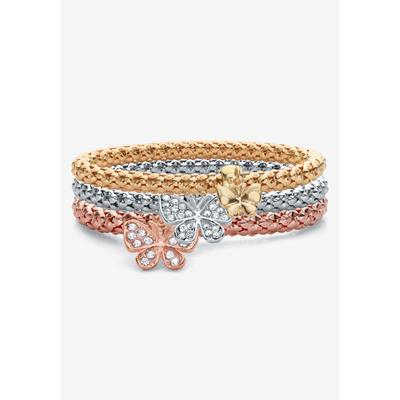 Plus Size Women's Rose Gold-Plated Butterfly Charm Stretch Bracelet Set by PalmBeach Jewelry in Crystal (Size 0)