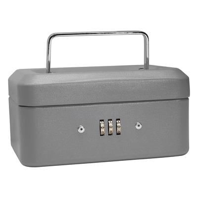 Barska CB11782 Cash Box w/ Combination Lock - (3) Compartment Tray, Steel, Gray