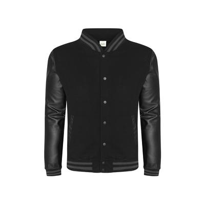 Just Hoods By AWDis JHA042 Men's 80/20 Heavyweight Urban Letterman Jacket with Leather Sleeves in Black size 2XL | Cotton/Polyester Blend