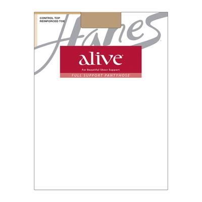 Plus Size Women's Alive Control Top Reinforced Toe 6-Pack by Hanes in Little Color