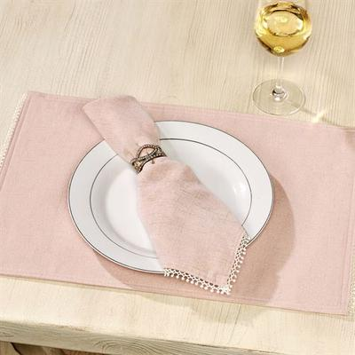 French Perle Solid Color Placemats Set of Four, Set of Four, Blush