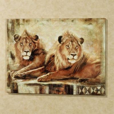 Watchful Life Lions Canvas Brown , Brown