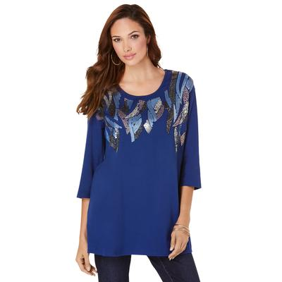 Plus Size Women's Feather Sequin Tunic by Roaman's in Evening Blue (Size 38/40)