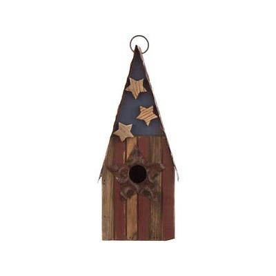 Glitzhome Solid Wood & Metal Rustic Bird House, 12.4-in