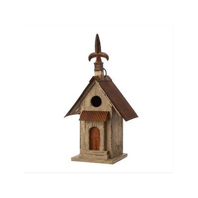 Glitzhome Distressed Solid Wood Bird House, 13.11-in