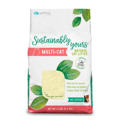 Sustainably Yours Multi-Cat From Corn & Cassava Natural Litter, 13 lbs.