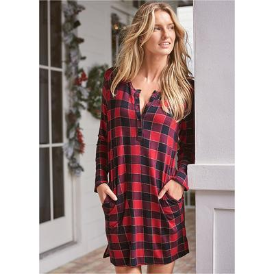 Short Sleepshirt Pajamas & Sleep - Red/Black