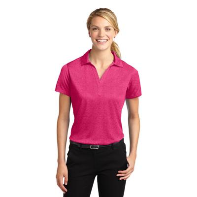 Sport-Tek LST660 Women's Heather Contender Polo Shirt in Pink Raspberry size Large | Polyester