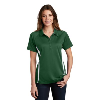 Sport-Tek LST685 Women's PosiCharge Micro-Mesh Colorblock Polo Shirt in Forest Green/White size Large | Polyester