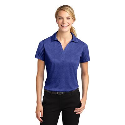 Sport-Tek LST660 Women's Heather Contender Polo Shirt in Cobalt size XL | Polyester