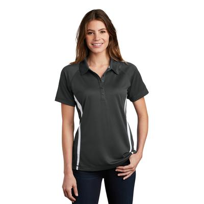 Sport-Tek LST685 Women's PosiCharge Micro-Mesh Colorblock Polo Shirt in Iron Grey/White size Small | Polyester