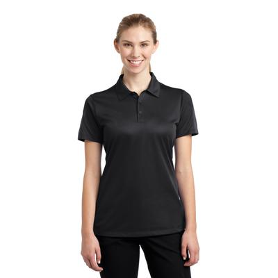 Sport-Tek LST695 Women's PosiCharge Active Textured Colorblock Polo Shirt in Black/Grey size XXL | Polyester