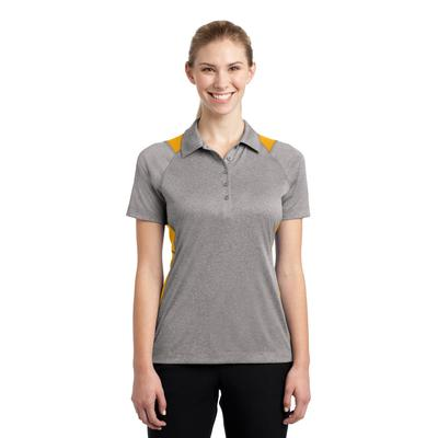 Sport-Tek LST665 Women's Heather Colorblock Contender Polo Shirt in Vintage Heather/Gold size Large | Polyester