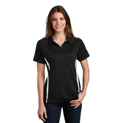 Sport-Tek LST685 Women's PosiCharge Micro-Mesh Colorblock Polo Shirt in Black/White size Large | Polyester