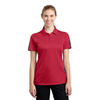 Sport-Tek LST695 Women's PosiCharge Active Textured Colorblock Polo Shirt in True Red/Grey size XXL | Polyester