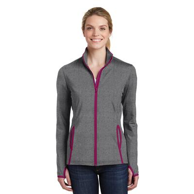 Sport-Tek LST853 Women's Sport-Wick Stretch Contrast Full-Zip Jacket in Charcoal Grey Heather/Pink Rush size 4XL | Polyester/Spandex Blend