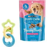 Nylabone Teething Rings Puppy Chew Toy & Puppy Chow Healthy Start Salmon Flavor Training Dog Treats