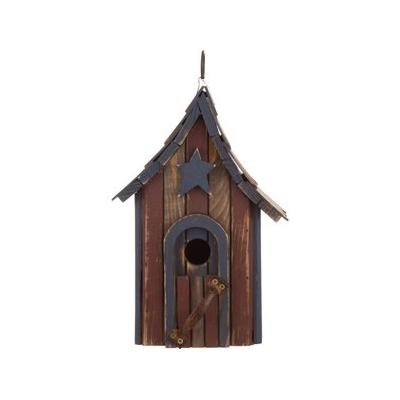 Glitzhome Hanging Distressed Solid Wood Garden Bird House, 11.42-in