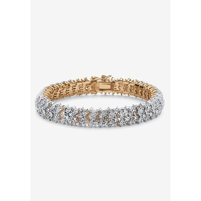 Women's Yellow Gold Plated Round Genuine Diamond Tennis Bracelet (7/8 cttw) (IJ Color, I2-I3 Cla by PalmBeach Jewelry