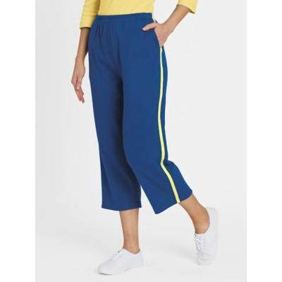 Women's Plus Fresh Knit Sport Capris, Classic Blue/Yellow 3XL