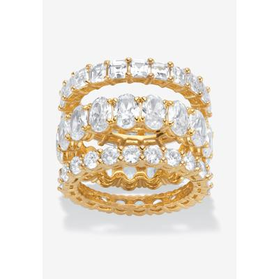 Plus Size Women's Yellow Gold-Plated 3-Piece Stackable Ring by PalmBeach Jewelry in Cubic Zirconia (Size 9)
