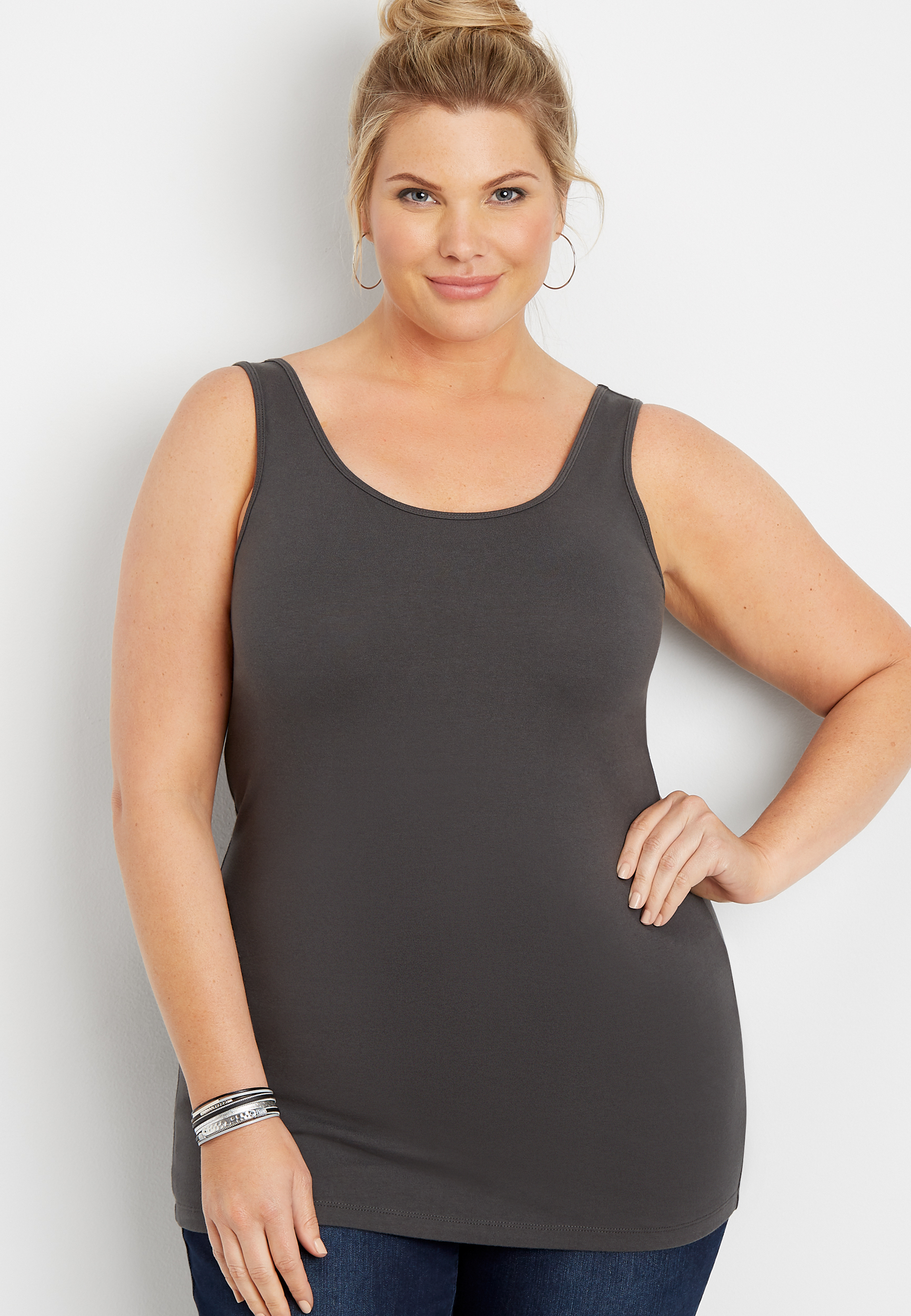 Maurices Plus Size Womens Neutral Scoop Neck Tank Top Gray - Size 0X