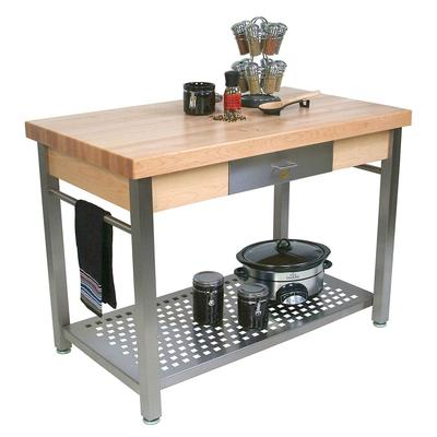 John Boos CUCG21 Cucina Grande, Work Table, 2 1/4 Maple Top, Varnique Finish, Stainless Base, 60 x 28