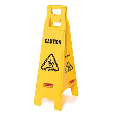 Rubbermaid FG611400YEL 4 Sided Floor Sign - Caution Multi-Lingual, Yellow on Sale