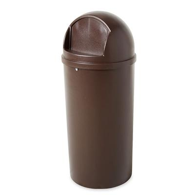 Rubbermaid FG816088BRN 15 gal Indoor Decorative Trash Can - Plastic, Brown on Sale