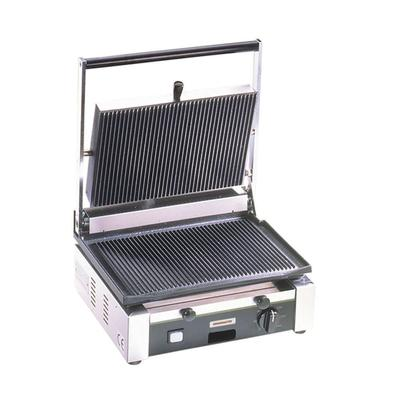 Cecilware TSG1G Commercial Panini Press w/ Cast Iron Grooved Plates, 110v on Sale