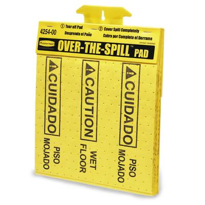 Rubbermaid FG425400YEL Over-the-Spill Pad Tablet - Caution Wet Floor 16 1/2x14 Yellow on Sale
