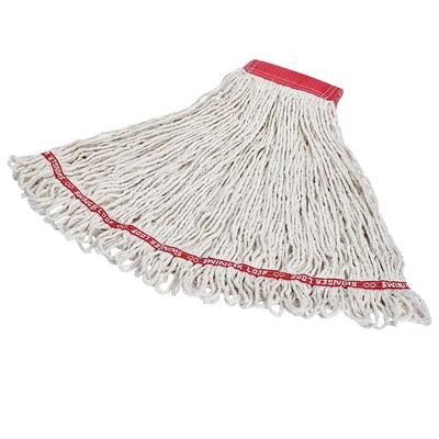 Rubbermaid FGC15306WH00 Looped-End Large Wet Mop Head - 5 Headband, 4 Ply Cotton/Synthetic, White on Sale