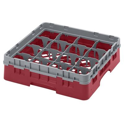 Cambro 16S318416 Camrack? Glass Rack w/ (16) Compartments – (1) Gray Extender, Cranberry