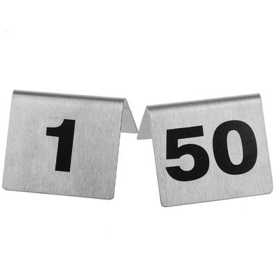 Tablecraft T150 Tabletop Number Cards - #1 50, 2 x 2.5, Stainless/Black on Sale