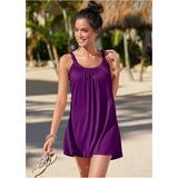 Gathered Neckline Dress Cover-ups - Purple