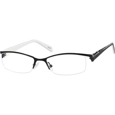 Zenni Womens Rectangle Prescription Glasses Half-Rim Black Frame Plastic 719221