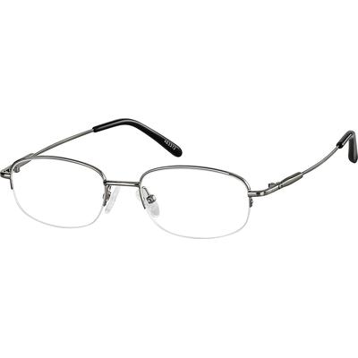 Zenni Classic Rectangle Prescription Glasses Half-Rim Gray Stainless Steel Frame