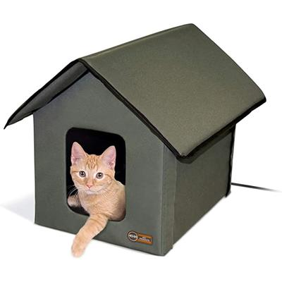 K&H Outdoor Heated Kitty Cat House in Olive, Medium, Green