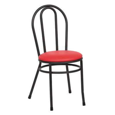 Royal ROY 717 R Bistro Chair w/ Black Steel Frame & Red Vinyl Seat on Sale