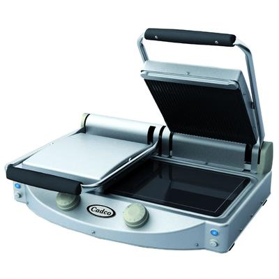 Cadco CPG-20 Double Commercial Panini Press w/ Ceramic Grooved & Smooth Plates, 208-240v/1ph