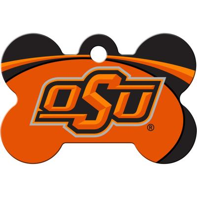 """Quick-Tag Oklahoma State NCAA Bone Personalized Engraved Pet ID Tag, 1 1/2"""" W X 1"""" H, Large, Black"""