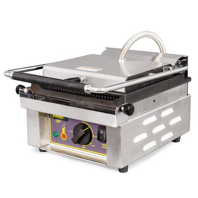 Equipex SAVOY Commercial Panini Press w/ Cast Iron Grooved Plates, 120v on Sale