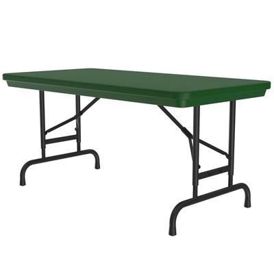 Correll RA2448 29 Folding Seminar Table w/ Blow-Molded Top, Adjusts To 32 H, 24 x 48, Green on Sale