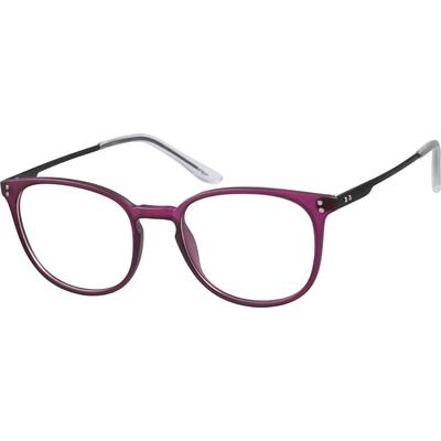 Zenni Women's Round Prescription Glasses Purple Plastic Frame